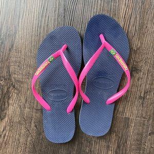 NWOT Havaianas Slim Flip Flops Pink/Navy